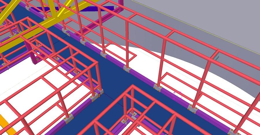QUT La Boite Theatre Tekla Model Gantry Framing